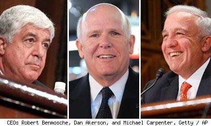 CEOs Robert Benmosche, Dan Akerson, and Michael Carpenter.